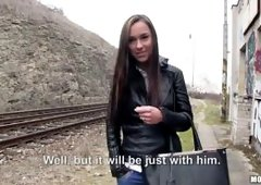 Busty Babe Victoria Sweet rides a dick by the train tracks