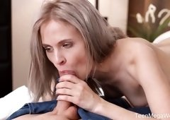 Lascivious blond babe Herda Wisky gives a massage and gets her slit fucked