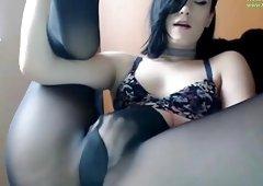 Milf masturbates in stockings HOT VIDEO