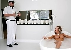 Milf Courtney Taylor fucks and drains out of cum the milk man in the bathtub