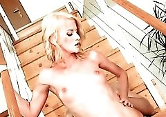 Skinny blonde fucked hardcore in her bald cunt