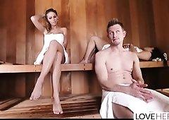 Jessa Rhodes and her friends are having steaming hot sex in the sauna and loving it