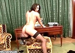 Ambrosial golden-haired Candy Strong is weared in hot and sexy stockings