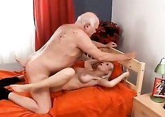 Skinny girl with sexy fake titties fucked by a senior