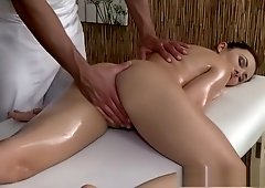 Sexy client enjoys stud's big hard cock in her shaved hole