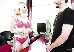 Oily massage with charming busty Sarah Vandella includes good doggy fuck