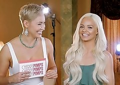 Blonde Elsa Jean and her friend talk about what they like to do