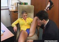 Lea De Mae is one naughty secretary who loves to get fucked on camera