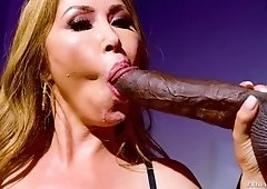 Asian blonde busty MILF Kianna Dior takes a massive black cock and cum