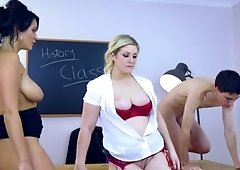 Lucky fellow has fun with his classmate and busty teacher