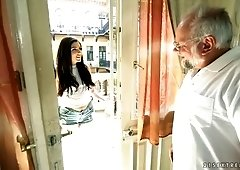 Cute young brunette Miranda Miller is finger fucking anus of one old man