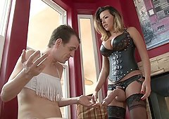 Mistress owns his asshole with her massive strapon