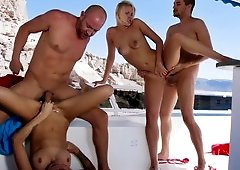 Foursome on the yacht makes all participants crazily excited